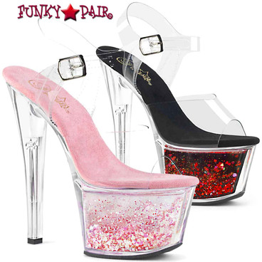 Pleaser | SKY-308WHG, 7 Inch Ankle Strap with Flowing Glitters