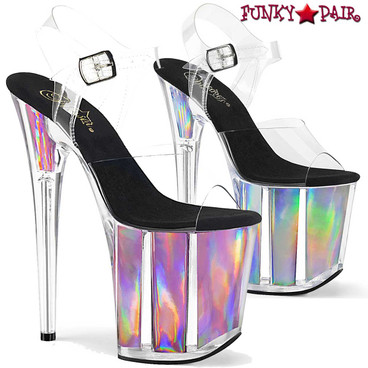 Pleaser | Flamingo-808HGI, 8 Inch Holographic Platform Sandal