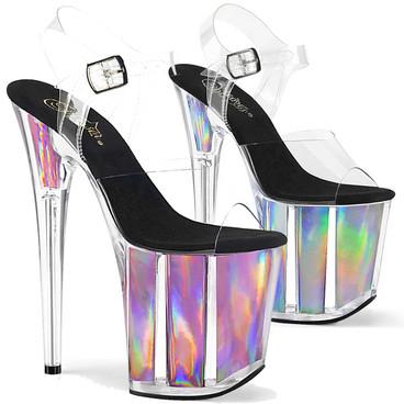 Flamingo-808HGI, 8 Inch Holographic Platform Sandal by Pleaser