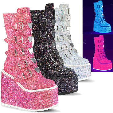 Glitters Rave Boots | SWING-230G, Mid-Calf with Heart Buckles Straps
