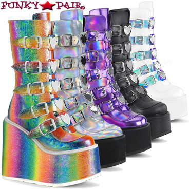 Demonia Boots SWING-230, Mid-Calf Boots with Heart Buckles Straps