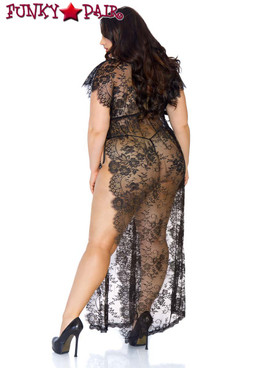 Leg Avenue | LA86103X, Eyelash Lace Robe back view