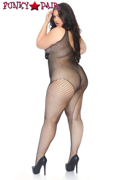 Leg Avenue | LA89240X, Crystalized Fishnet Asymmetrical Bodystocking back view