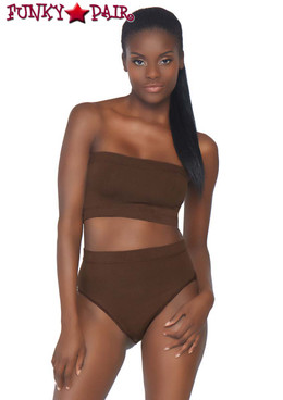 Leg Avenue | NK003, Bandeau Top and High Waist Bottom color dark brown