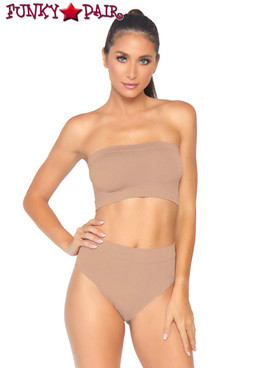Leg Avenue | NK003, Bandeau Top and High Waist Bottom color Beige