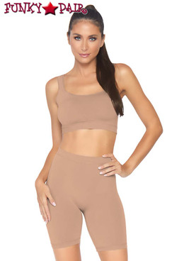 Leg Avenue | NK004, Seamless Crop Tank and Bike Shorts color Nude