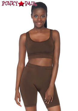 Leg Avenue | NK004, Seamless Crop Tank and Bike Shorts color  dark brown