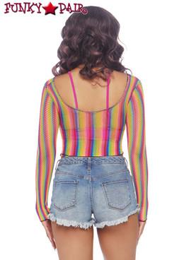 Leg Avenue | LA81600 Rainbow Fishnet Crop Top back view