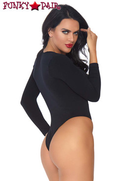 Leg Avenue | LA81589, Spandex Opaque Faux Lace Up Bodysuit back view