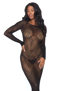 Chevron Net Body Con Dress Leg Avenue LA86800