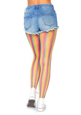Rainbow Striped Fishnet Tights Leg Avenue LA-9305 back view
