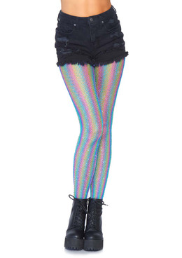 Rainbow Fishnet Tights Leg Avenue LA-9308 color blue