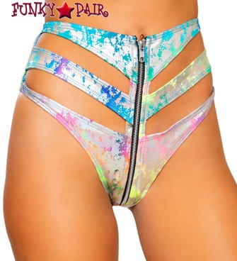 Roma | R-3730 | RAINBOW SPLASH HIGH-WAISTED RAVER SHORTS