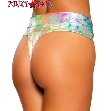 HIGH RISE THONG RAVE SHORTS Roma | R-3738 back view