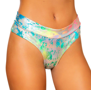 Roma | R-3738, RAINBOW HIGH RISE RAVE THONG SHORTS