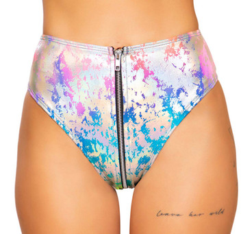 HIGH-WAISTED RAINBOW SPLASH RAVE SHORTS | Roma R-3743