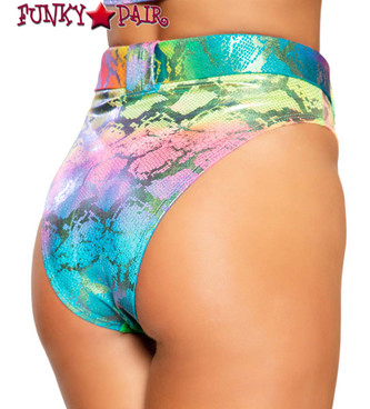 MULTI-COLOR HIGH-WAISTED SHORTS back view Roma R-3747