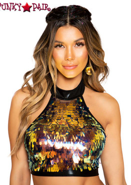 Roma | R-3757, SEQUIN CROP TOP color black iridescent