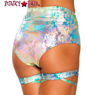 Roma R-3765 RAINBOW HIGH-WAISTED SHORTS back view