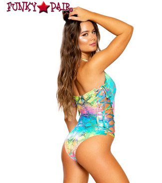 Roma | R-3692, RAINBOW RAVE LACE-UP ROMPER back view