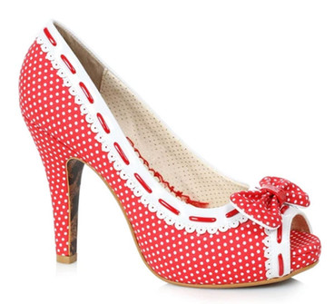 BP412-Amelie Red Polka Dot Peep-Toe Pump by Bettie Page