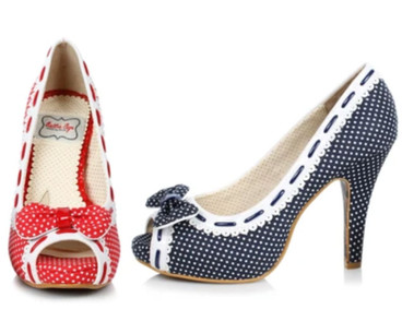 Bettie Page BP412-Amelie Polka Dot Peep-Toe Pump