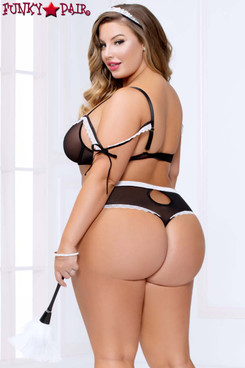 Mesh French Maid Set STM-11006X Plus Size back view