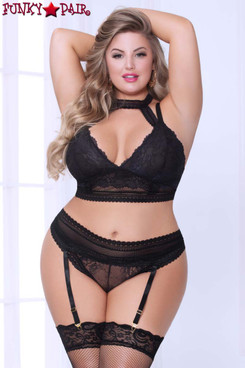 Plus Size Lace and Net Harness Bra Set STM-10926X color black