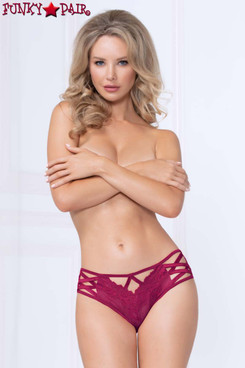 STM-10992, Lace and Mesh High Waist Cheeky Panty color wine