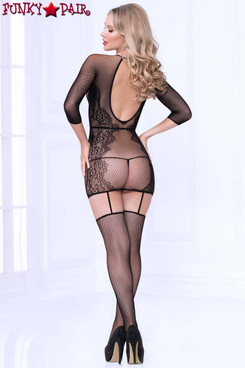 STM-20467, Seamless Lace Bodystocking Dress back view