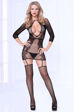Seamless Lace Bodystocking Dress STM-20467, Seven Till Midnight