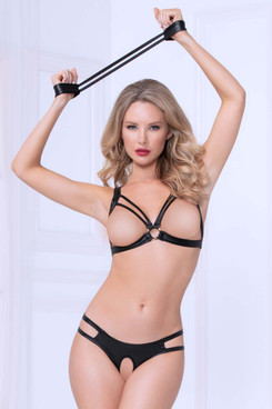 STM-10998, Lamé Open Cup Strappy Bra Set by Seven Till Midnight