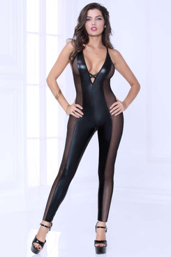 STM-10964, Lamé and Mesh Bodysuit by Seven Till Midnight @FunkyPair.com