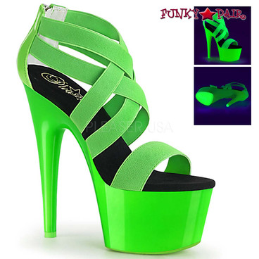 Stripper Shoes Adore-769UV, Neon Green Criss Cross Strappy Sandal with Black Light Reactive