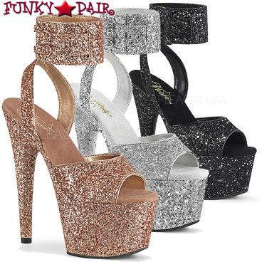Pleaser Shoes | Adore-791LG, Glitter Ankle Cuff Sandal