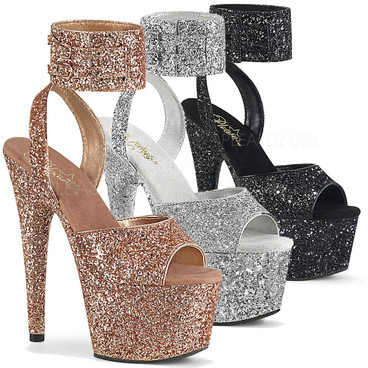 Glitter Ankle Cuff Sandal Adore-791LG, Stripper Shoes