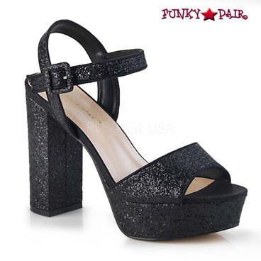 Celeste-09, Chunky Heel Glitter Platform Sandal color black