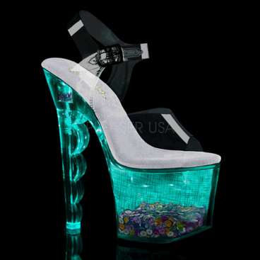 Pleaser Flashdance-708SCHSQ, Lite-up with Multi-Color Sequin in Platform