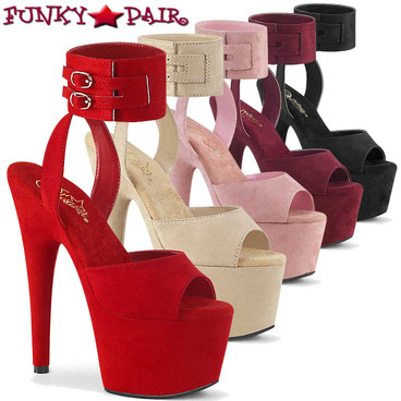 Pleaser Shoes | Adore-791FS, Suede Ankle Cuff Sandal