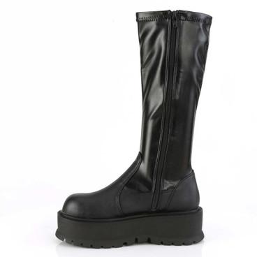 Slacker-200, 2 Inch Platform  Stretch Knee High Boots   Demonia Zipper Side View