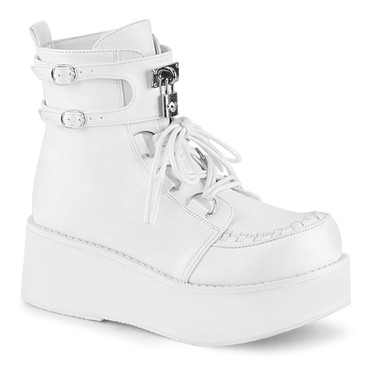 Sprite-70, White Vegan Leather Platform D-Ring Lace up Ankle Women Demonia Boots