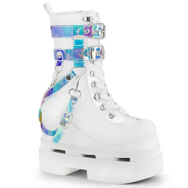 Eternal-115, Rave Cutout Wedge Platform Mid-Calf Boots | Demonia  color white