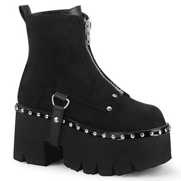 Ashes-100, Black Vegan Suede Chunky Heel Platform Ankle Women Demonia Boots