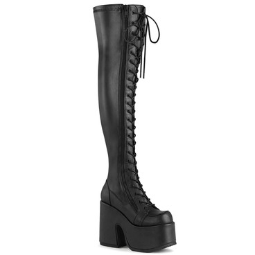 Camel-300, Black Vegan Leather Chunky Heel Thigh High Boots | Demonia