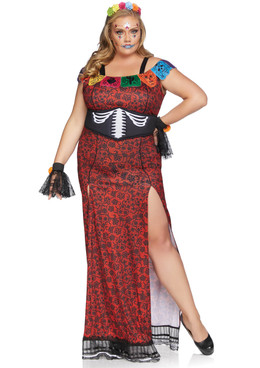 Deluxe Day of the Dead Costume Plus Size | by Leg Avenue LA-86871X Full VIew