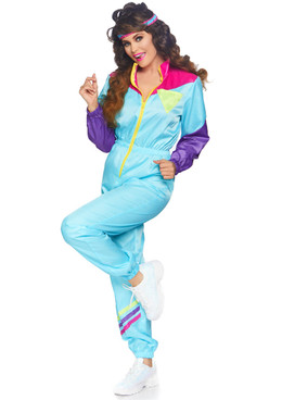 Leg Avenue LA-86813, Women's Awesome 80s Track Suit Costume Full View