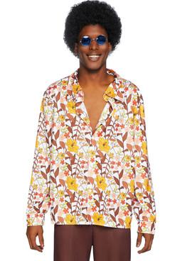 Leg Avenue LA-86846, Men's 70s Floral Shirt Front View