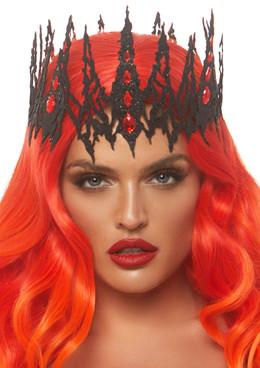 A2870, Black Glitter Jeweled Crown by Leg Avenue