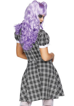 LA-86828, Women's Plaid Babydoll Dress Costume Back View