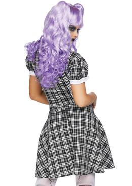 LA-86828, Women's Plaid Babydoll Dress Costume Back View